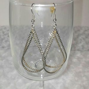!SALE! Silver Twisted Teardrop Metal Earrings